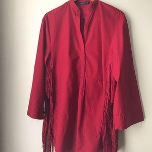 Zara Women Fringe Tunic Shirt 👚 .